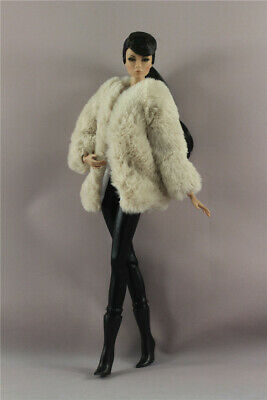 4in1  Fashion  Khaki Fur Coat +vest+pants+Boots  FOR 11.5in.Doll Clothes Outfit