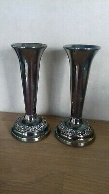 Vintage...silver Plated..pair Of Vases...display...retro..silver Plated..vases