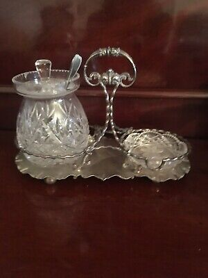Silver Plated And Glass Jam Condiment Set