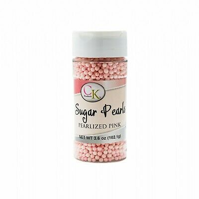 Pink Pearlized Sugar Pearls - 107.7gm Baking Decoration Supplies