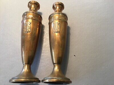 A PAIR OF VINTAGE 1920/30's 6 ins  BRASS VASES Both with the Calais Shield