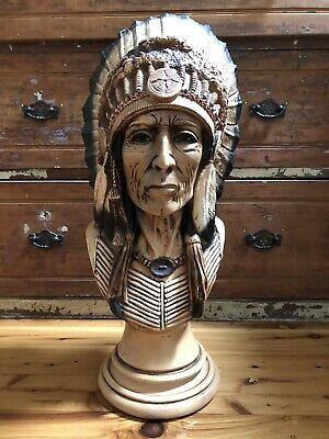 Rare APSIT BROS OF CALIF Native American Indian Chief In Full Headdress Bust