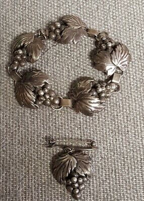 Cof Carl Ove Frydensberg Denmark Sterling Silver Grape Leaf Bracelet & Pin