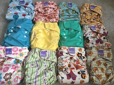 12 bambino mio miosolo Cloth Reusable Washable Nappies In Good USED Condition