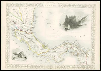 """1850 Illustrated Original Antique Map """"ISTHMUS OF PANAMA"""" by TALLIS  (162d)"""