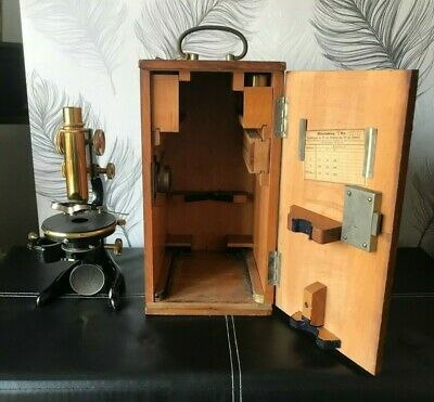 "Vintage c1900~  ""E. Leitz Wetzler No 188393"" Brass Microscope with Case"