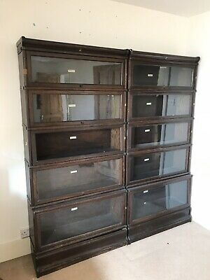 Two identical Antique Globe Wernicke 5 Stack Bookshelves.