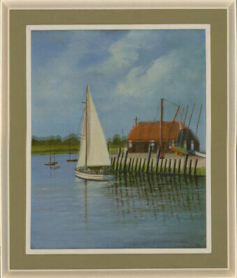 J.C Middleton - Signed and Framed 1984 Oil, Bosham Quay