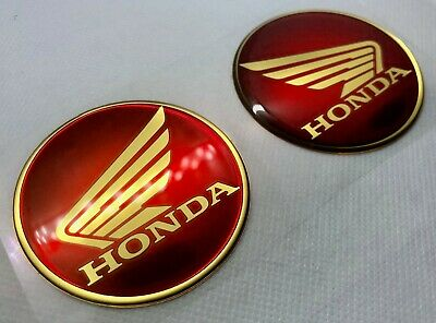 Honda Logo Badge 3D Domed Stickers. Gold Black to Red. 60mm diam.