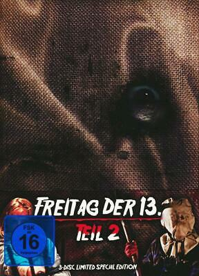 Mediabook FREITAG DER 13. Teil  2 UNCUT Limited Edition 3 Disc BLU-RAY DVD bOX