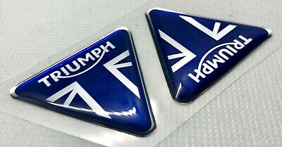 2pcs. Triumph Badge 3D Domed Stickers. Silver Blue. 42mm