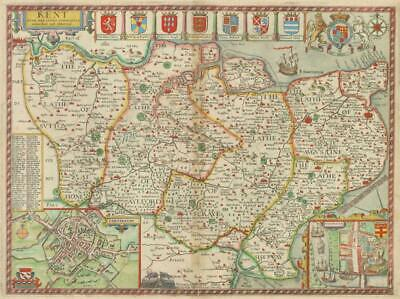 1627 Original Large Antique Map KENT by John Speed hand coloured Humble edition