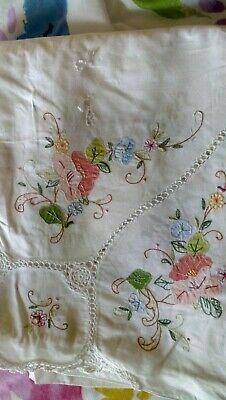 Large vintage embroidered tablecloth