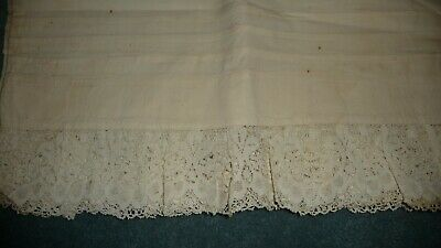 #321C Antique Victorian Era Pair Home MADE Pillowcases w Net Lace Border AS IS