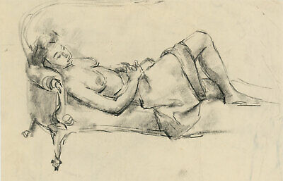 Peter Collins ARCA - c.1970s Charcoal Drawing, Reclining Female Nude