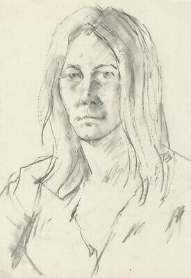 Peter Collins ARCA - c.1970s Charcoal Drawing, Portrait of a Woman