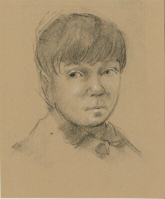 Peter Collins ARCA - c.1970s Charcoal Drawing, Portrait of a Boy