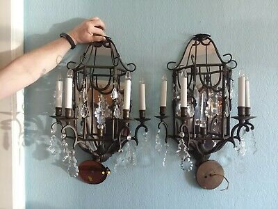 "Set Pair 2 Vtg Wrought Iron Crystal Prisms Mirror Wall Sconces 21"" 4 Candles"