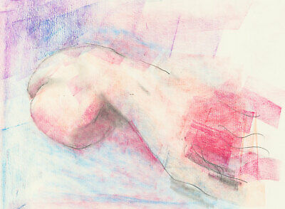 Peter Collins ARCA - c.1970s Pastel, Expressive Study in Purple