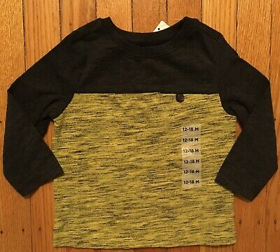 NWT Boy's Old Navy Long Sleeve Gray & Yellow Shirt w/Pocket - Size 12-18 Months