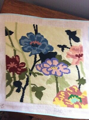 "Completed Darcy Fredmore Needlepoint Canvas Mums Geraniums Daisy? 14"" x 14"""