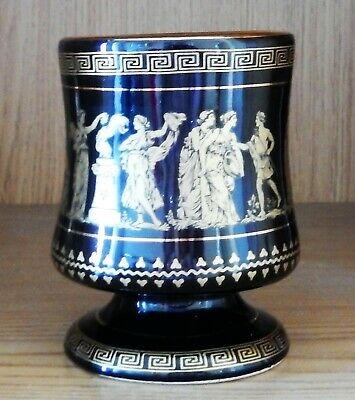 "4"" BLACK/GOLD GREEK  VASE 24ct GOLD EDGING - EX COND"