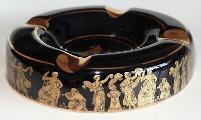 "5.5"" DIAM BLACK/GOLD GREEK ASH TRAY 24ct GOLD EDGING - EX COND"