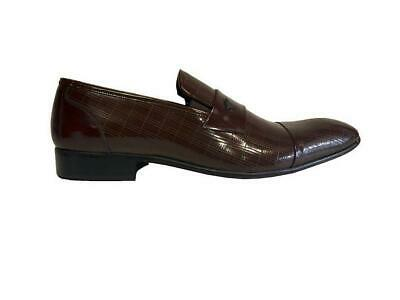 Mens Real Patent Leather Brown Shiny Slip On Smart Casual new Loafer Shoes 5 6 7