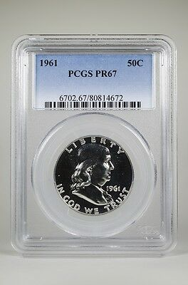 Pr67 1961 Pcgs Graded Franklin 90% Silver Half Dollar 50C Proof Free Shipping