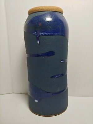 AlfaDom Studio Pottery Vase Dominican Republic Signed Jose Diaz Deep Blue Import
