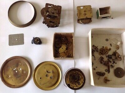 Vintage Clock Parts Movements Mechanical Incl Smiths From Clockmakers Collection