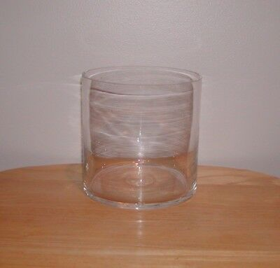 Large*Heavy*Clear*Glass*Cylinder*Round*Decorative*Candle*Holder*Vase*7 X 7**Nwot