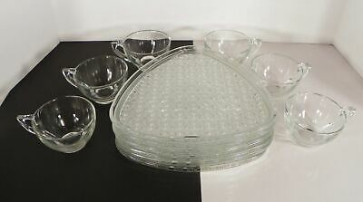 Anchor Hocking DAISY AND BUTTON 6 Snack Set (s) Plate Cup Glass Party Shower