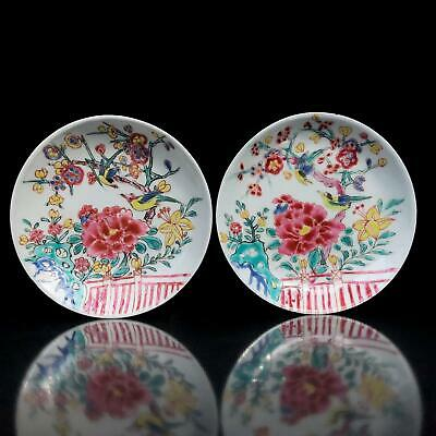 PAIR! antique CHINESE YONGZHENG (1723 -1735)  BIRD DISHES famille rose porcelain