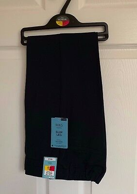 BNWT Boys M&S Navy Blue Flat Front Adjustable Waist School Trousers - 8-9 Years