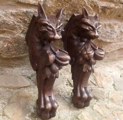 "ANTIQUE 1850 PAIR big17"" CARVED OAK GRIFFIN SHELF WALL BRACKET SUPPORTS GOTHIC B"