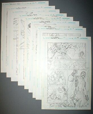 9 x Original Comic Pages From Resident Evil DC Comics / Wildstorm - Rare Pencils