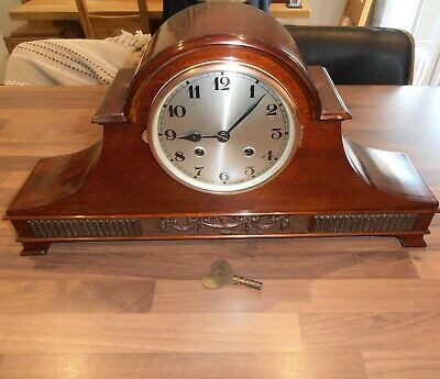 Antique Mahogany Cased Chiming Mantel Clock with German Movement circa 1930