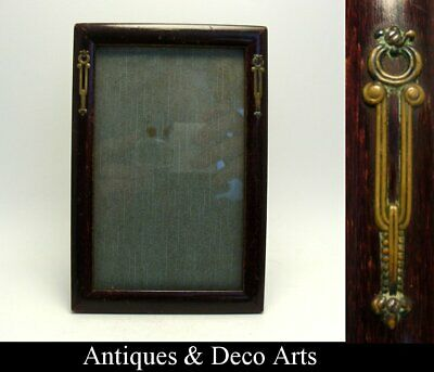 Victorian or Edwardian Wood Picture- or Photo Frame with Metal Decoration