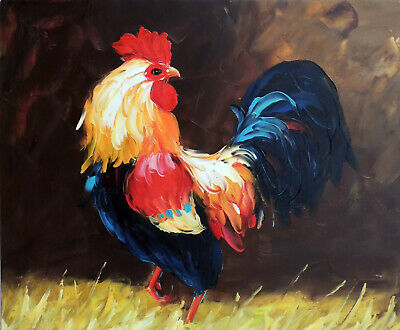 Rooster Chicken Barnyard Farm Bird Stretched 20X24 Avian Oil Painting By Hand
