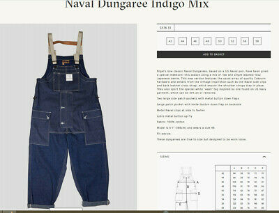 1fca0a934fa047 Nigel Cabourn Lybro Naval Dungaree - Size 46 - Mixed Denim - Current Season
