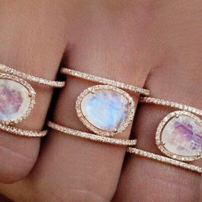 Boho Moonstone and Gold Plated Double CZ Ring - BNWT