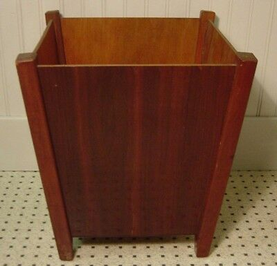 Retro Modern Wood Waste Basket Trash Can Vintage Planter Tree Box Square Stand