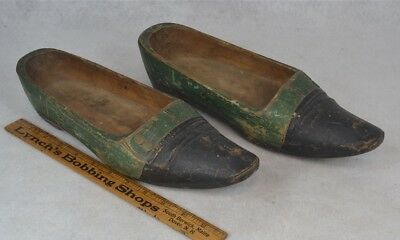 antique shoes wooden carved painted pointed toes 18th 19th c rare original