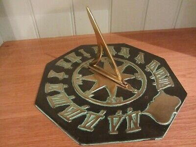 Octagonal Solid Brass Sundial 10 inch/26 cms compass roman numerals personalised