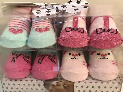Gift Set Of 4 Pairs Baby Socks Age 0 - 6 Months - New Boxed.