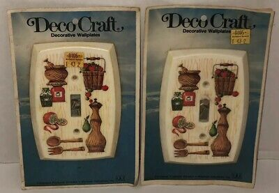 Vintage DECO CRAFT Farmhouse Kitchen Lot of 2 Light Switch Cover Wallplate NOS