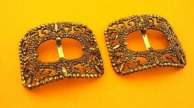 Pair Large Early French Shoe Buckles, Gilded Facetted Steel