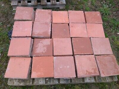 Reclaimed 9 Inch x 9 Inch Red Quarry Tiles