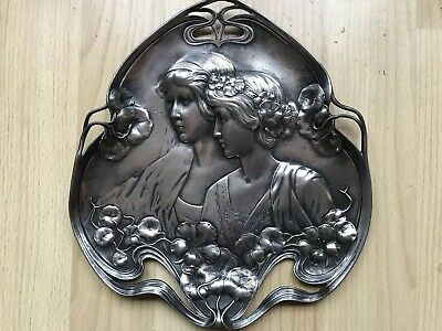 Art noveau Wmf Card Tray Pewter/old Silver Plate Circa 1906